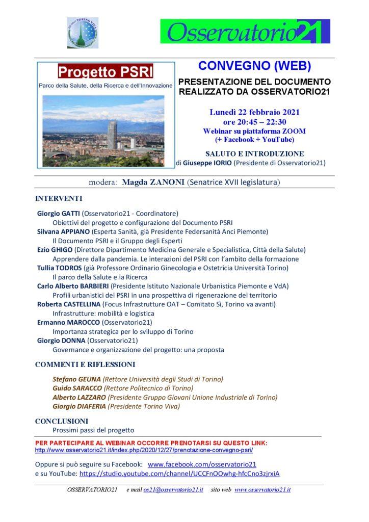 Webinar progetto PSRI